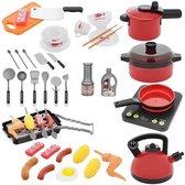 Keuken speelgoed accesoires - 44 stuks - Inclusief ketel, pannenset, borden, bestek, snijmessen, snijplank, inductieplaat, grill - Speelgoed meisjes - Speelgoed jongens