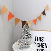 Vintage Vlaggenlijn / Guirlande in Bruintinten & Oranje - Slinger van Vilt / Stof - Wasbaar | Effen - Bruin - Beige - Camel -  Oranje | Vlag Kinderkamer jongen - meisje  | Huwelijk  - Feest - Verjaardag  - Bruiloft - Birthday - Decoratie