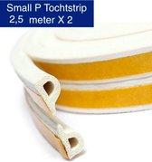 KD | Small P Tochtstrip | 2,5 meter X 2 | Water, vocht en wind werend | Wit Tochtband
