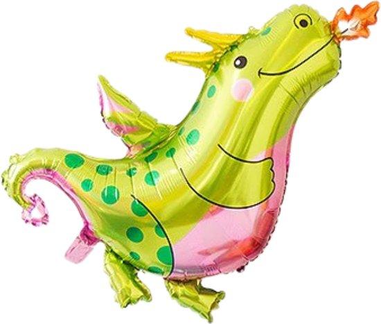 Draak Ballon - XL Groot 90 x 76 cm - Draken Speelgoed - Dragon - Draken - Dinosaurus - Dino - Inclusief Opblaasrietje - Ballonnen - Ballonnen Verjaardag - Helium Ballonnen - Folieballon