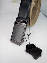 strak glad leren riem, zwart, automatische buckle, L125cm, H32mm, D4mm