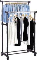 Made4Home® - Dubbel kledingrek | Op wieltjes | 1 stuk | Verstelbaar in 3 hoogtes 110 cm - 135 cm - 160 cm | 2 stangen | 2 laags | Garderoberek | Hangrek met schoenrek | Mobiele kapstok | Staand | Verrijdbaar |  Zwart metaal