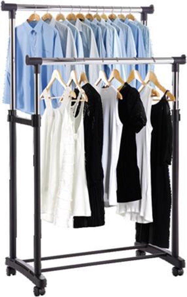 Made4Home  - Dubbel kledingrek   Op wieltjes   1 stuk   Verstelbaar in 3 hoogtes 110 cm - 135 cm - 1