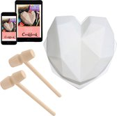 Siliconen Vorm voor Chocolade Hart met 2 Hamers - Incl. Digitaal Kookboekje - Smash Heart - Hartvormige Mal -  TikTok Famous - Valentijns hart