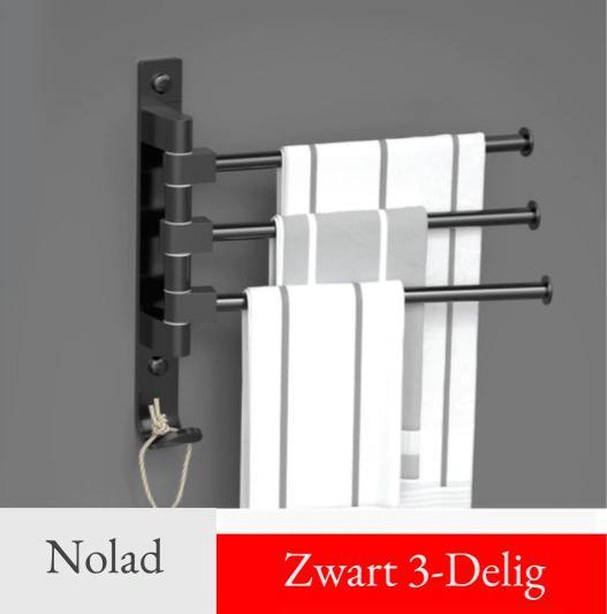 Nolad® Handdoekrek 3-armig - Handdoekstang - Handdoekhouder - Handdoekenrek - Badkamer Handdoek Rek - Hangende Wand Theedoek - Inclusief montages - 180° Graden draaibaar