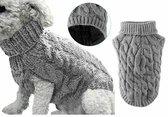 Hondentrui grijs - trui - hond - warm - hondenjas - hondenmode - hondenkleding - gebreid - truitje - schattig - hondenstrik - dogfashion