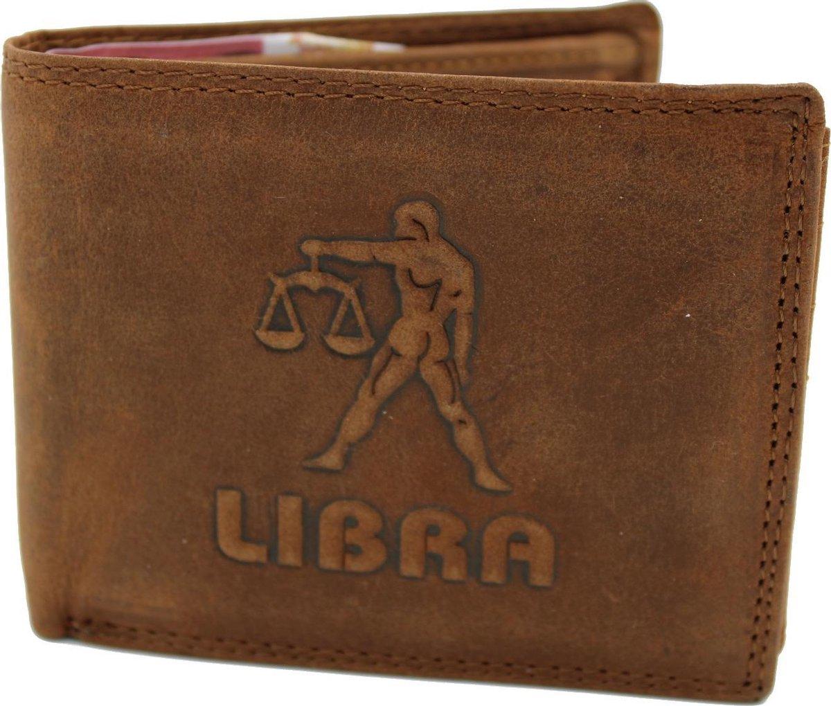 Nuba Leather - Lederen Heren Portemonnee - Anti Skim - Weegschaal logo - Libra - Cognac / Bruin