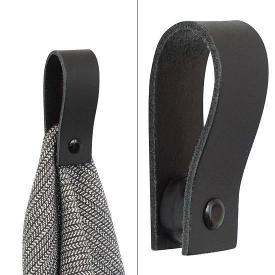 Leren magneet-lus | ZWART (handdoekhaak - handdoekhaakje - handdoeklus - handdoekhanger)