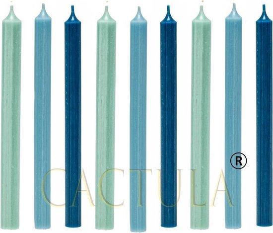 Cactula mooie lange dinerkaarsen 28 cm in 3 Trendy Kleuren 9 stuks | Blauw | Jade / Lichtblauw / Donkerblauw