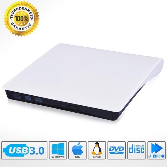 OpticDrive™ Externe DVD Speler voor Laptop - Externe DVD Speler en Brander - Externe DVD brander - Draagbare DVD Speler - Externe Optische Drive - Windows en Mac - USB 3.0 - Wit