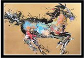 Fine Asianliving Oosters Schilderij Olieverf Chinees Paard Multicolour 150x100cm