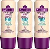 Aussie 3 Minute Miracle Pure Locks Cremespoeling Voordeelbox - 3 x 250 ml