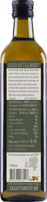 Geerts Best Koolzaadolie 750ml - Rijk aan omega 3+6 en koud geperst (van Nederlandse bodem)