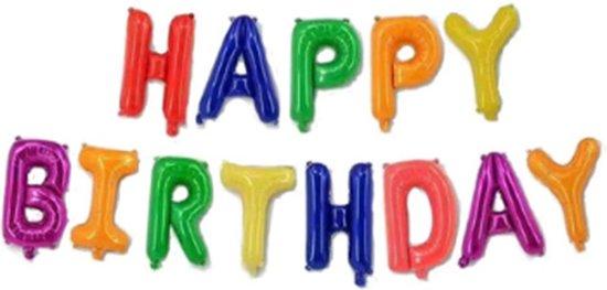 Ballon Happy Birthday regenboog , Kindercrea