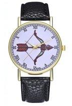 Hidzo Horloge Pijl en Boog Ø 38 - Zwart - Kunstleer - In Horlogedoosje