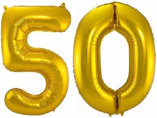Folie ballon cijfer 50 jaar – 80 cm hoog – Goud - met gratis rietje – Feestversiering – Verjaardag – Abraham Sarah - Bruiloft