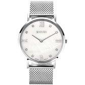 ZINZI Roman horloge witte parelmoer wijzerplaat, witte zirconia's bij uuraanduiding, stalen mesh band 34mm extra dun ZIW521M