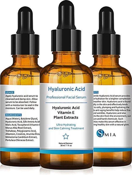 Simia™ Original Hyaluron Serum - Hyaluronzuur - Hyaluronserum - Met Vitamine E & Plantenextracten - Gezichtsserum - Intensief Hydraterend - Herstellend - Kalmerend - 30ml