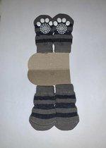 Hondensokken / Kattensokken - Grijs met Zwarte strepen - Antislip - 4 stuks - Maat S - 3x6cm - 1 paar - 4 sokken - Katoen -