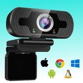 Curley Webcams - Webcam voor PC - Webcam met microfoon - Helder beeld & geluid- FULL HD 1080P - Geschikt voor Windows, Mac, Linux en Chromebook
