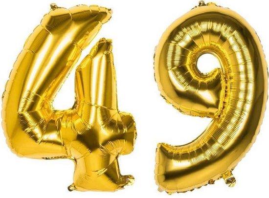 49 Jaar Folie Ballonnen Goud - Happy Birthday - Foil Balloon - Versiering - Verjaardag - Man / Vrouw - Feest - Inclusief Opblaas Stokje & Clip - XXL - 115 cm