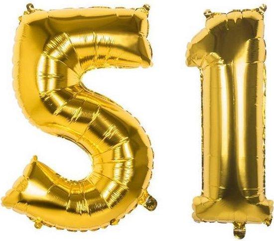 51 Jaar Folie Ballonnen Goud - Happy Birthday - Foil Balloon - Versiering - Verjaardag - Man / Vrouw - Feest - Inclusief Opblaas Stokje & Clip - XXL - 115 cm