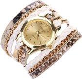 Uniek Horloge armband goud/wit I-deLuxe verpakking