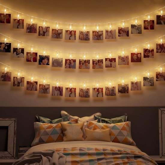 B.K.Licht - Foto lichtsnoer - lichtslinger - verlichting - 40 LED - fotoclips - l: 5m - op batterijen