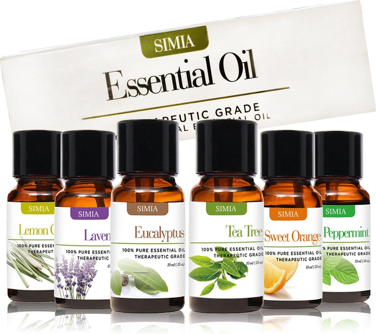 SIMIA Premium Essentiële Oliën Set 100% Natuurlijk - Aromatherapie - olie voor aroma diffuser - 6 x