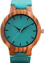 Zoëies® houten horloge met lichtblauwe leren band