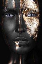 Plexiglas Woman Black Gold 80 x 120 cm Foto op Plexiglas incl. luxe ophangframe