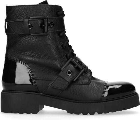 Sacha - Dames - Zwarte biker boots met lak neus - Maat 36