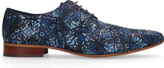 Sacha - Heren - Donkerblauwe veterschoenen met print - Maat 41
