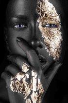 Plexiglas Woman Black Gold with Fingers 80 x 120 cm Foto op Plexiglas incl. luxe ophangframe