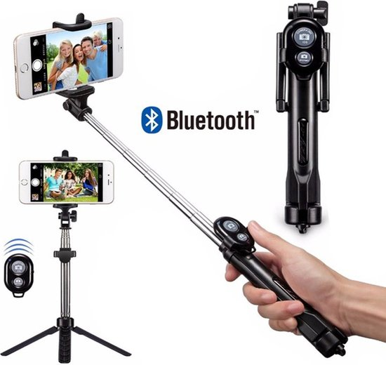 3-In-1 Universele Selfiestick Met Opvouwbare Tripod - Monopod Driepoot Statief Mount - Android & Apple iPhone Compatible - 360° Draaibaar - Met Bluetooth Afstandsbediening