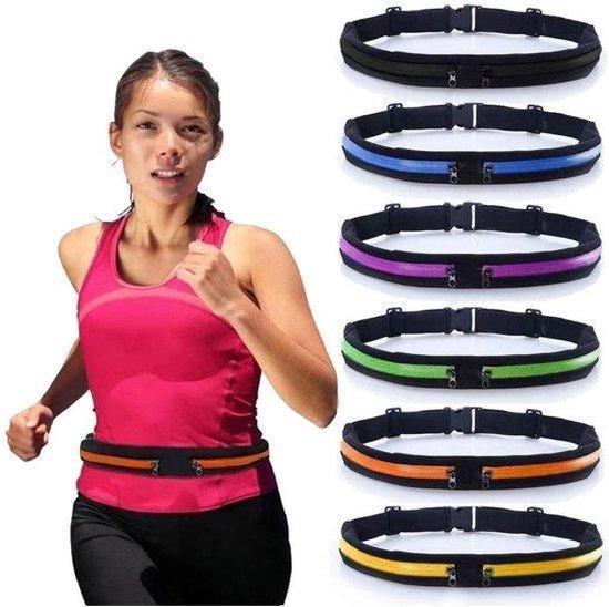 Running Belt -black- Hardloopband - Sportband - Hardloop Riem Met 2 Uitbreidbare Houder voor Smartphone tot 6.5 Inch