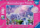 Ravensburger puzzel Koninkrijk van de Eenhoorns (glitter) - Legpuzzel - 100 stukjes