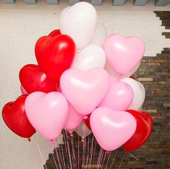 Ballonnen set hartjes | 18 stuks | Rood - wit - roze | moederdag | huwelijk | valentijn
