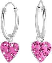 Little Miss Lovely - Zilveren oorbellen hart met rose kristal