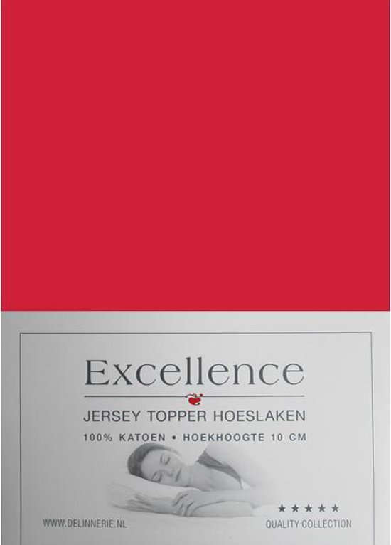 Excellence Jersey Topper Hoeslaken - Eenpersoons - 80/90x200/210 cm - Red