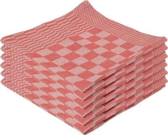18x Theedoek rood met blokmotief 65 x 65 cm - Huishoudtextiel - Afdroogdoek / keukendoek / vaatdoek