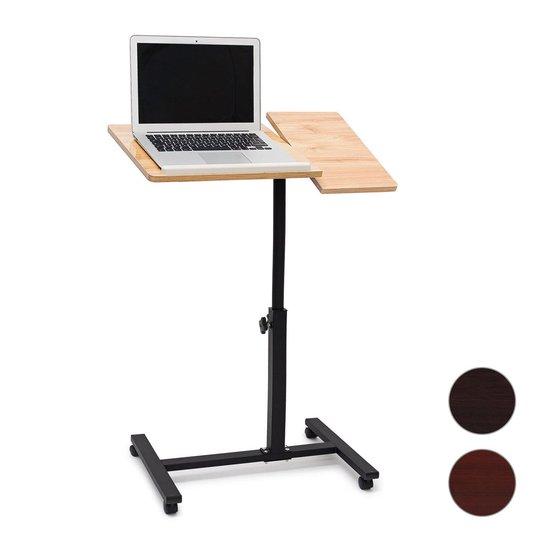 relaxdays Laptoptafel op wieltjes - houten laptopstandaard - verstelbaar - knietafel geel - Relaxdays