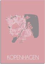 Plattegrond Kopenhagen Stadskaart poster DesignClaud - Roze - A2 + fotolijst wit