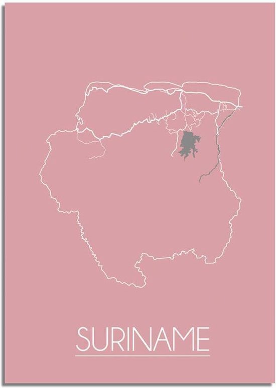 Plattegrond Suriname Landkaart poster DesignClaud - Roze - A3 + fotolijst wit