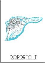 DesignClaud Dordrecht Plattegrond poster - A2 + fotolijst zwart (42x59,4cm)