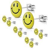 ronde oorbellen smiley-geel-zilverkleurig- staal-9mm