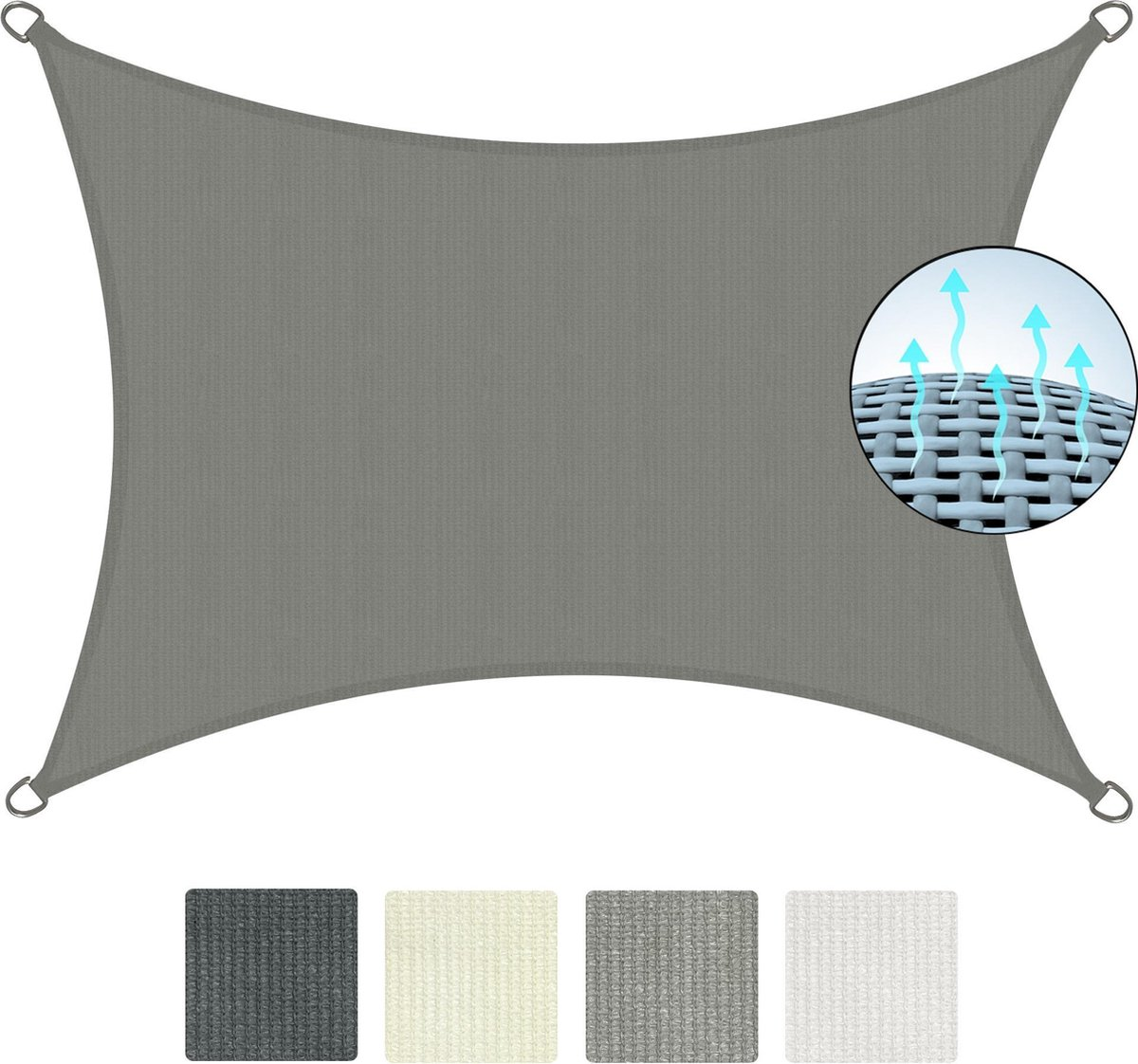 Sol Royal SolVision HS9 - Zonnezeil rechthoekig 300x400 cm HDPE Ademend - Grijs - Zonwering UV-besch