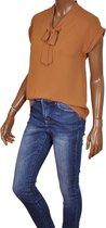 Korte mouwen strik blouse Iris van Triple Nine mocca - Maat S