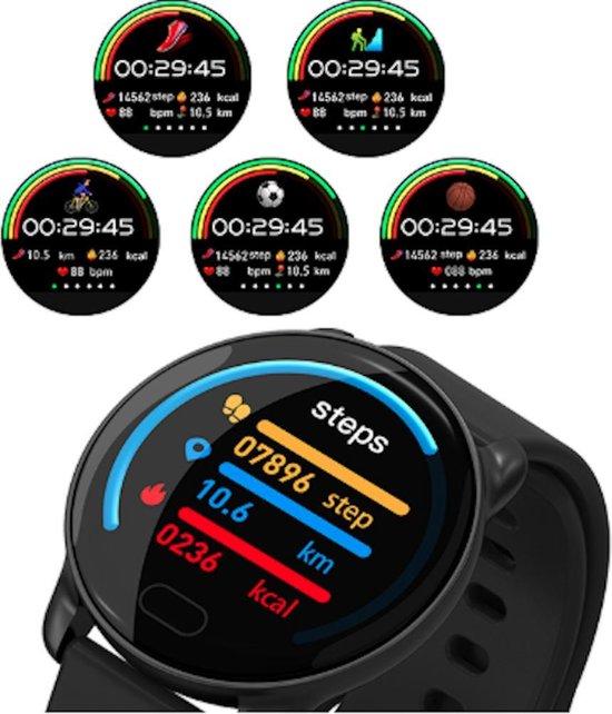 Smartwatch smart bracelet - stappenteller - hartslagmeter - bloeddrukmeter - bericht notificaties - whatsapp - IOS - Android - Blauw