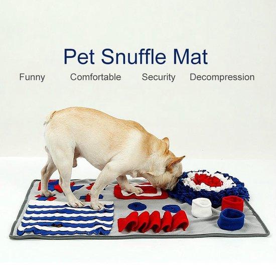 Snuffelmat -  Speelmat -  Trainingsmat -  Denkspel hond - 50x75 cm - grijs/rood/blauw